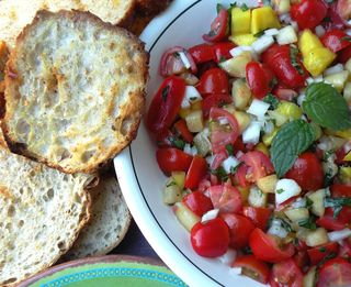 Grilled brushchetta with tomato, mango and mint.