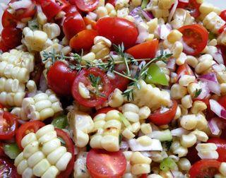 Corn tomatoe thyme salad